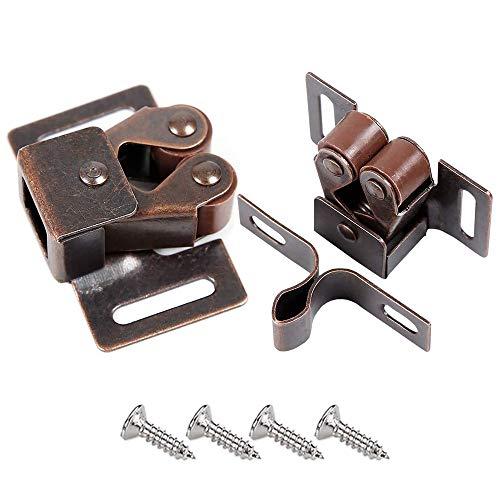 Ccucky - Cierres para puerta, juego de 8 unidades, doble rodillo, sujeción fuerte, para puertas de armario, en latón y aleación de zinc, dorado