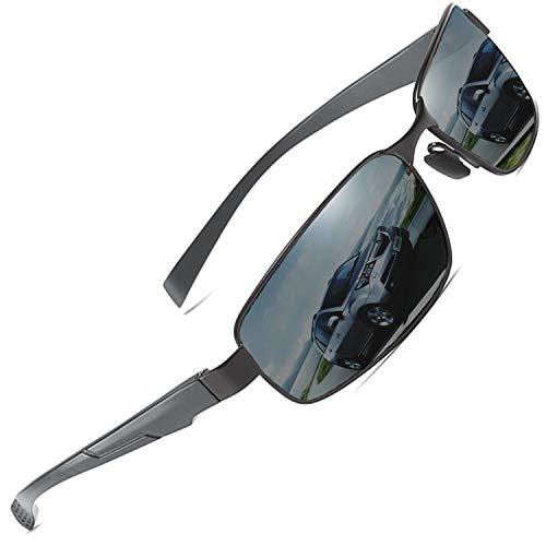 AORON Polarisierte Sonnenbrille Herren Outdoor Sportbrille CE UV-Schutz Fahrbrille Polarisiert Brille mit Federscharnier für (Grau)