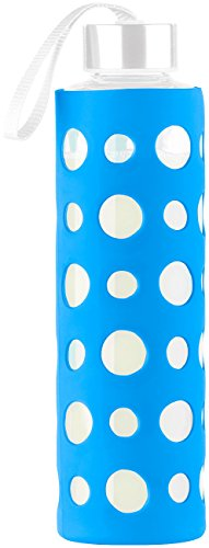PEARL Borosilikatglas Flasche: Blaue Silikonhülle für Trinkflasche aus Borosilikat-Glas, 20 cm (Glasflasche mit Silikonhülle)