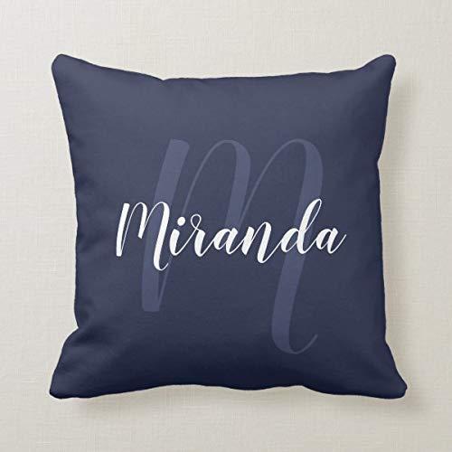 Yilooom Funda de cojín de 45,7 x 45,7 cm para cama, sofá, oficina, diseño moderno y personalizado con monograma y nombre, color azul marino