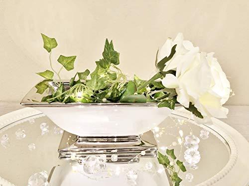 DRULINE Wunderschöne Dekoschale Schale aus Keramik weiß/Silber 35x14x13 cm Moderne Deko Weihnachten Keramikschale Vase Eckig Tisch Dekoration Dekovase Keramikvase Hochglanz Shabby