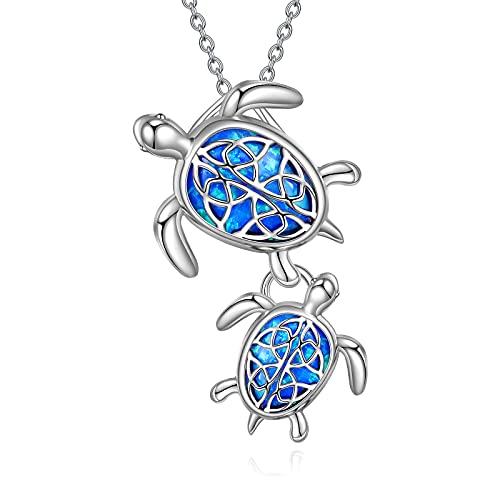 Collar de plata de ley 925 con grabado -Salud y longevidad- de tortuga marina, colgante de tortuga de mar, regalo para mujeres, mamá, abuela, Plata esterlina, Opal,