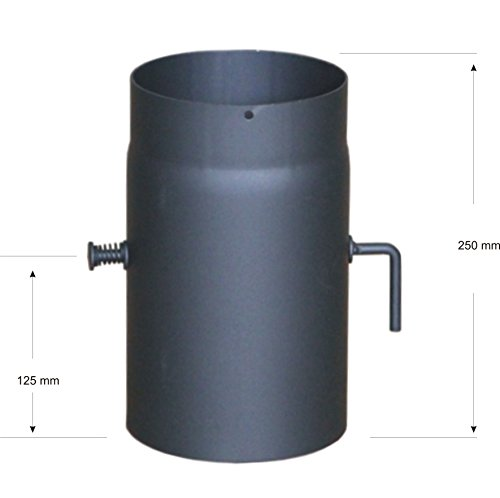 Unbekannt Tuyau de poêle Senotherm Tuyau de fumée coudé 2 mm 150 mm Noir Fonte 0.25 m mit Drosselklappe Gris