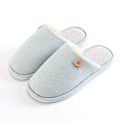 Charm4you Hard Sole WinterComfy Warm,Non-slip winter indoor cotton slippers-Mint Green_40-41,Washable Cotton Non-Slip Home Shoes