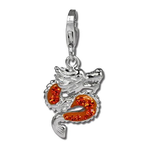 SilberDream Glitzer Charm Drache orange Zirkonia Kristalle Anhänger 925 Silber für Bettelarmbänder Kette Ohrring GSC524O