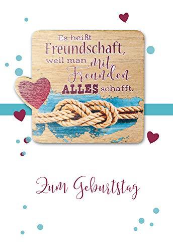 Geburtstagskarte - Geburtstag Karte - coole Geburtstagskarten - mit Schild aus Holz & Botschaft - 17,0 x 11,5 cm - inkl. Umschlag - Motiv: Freundschaft