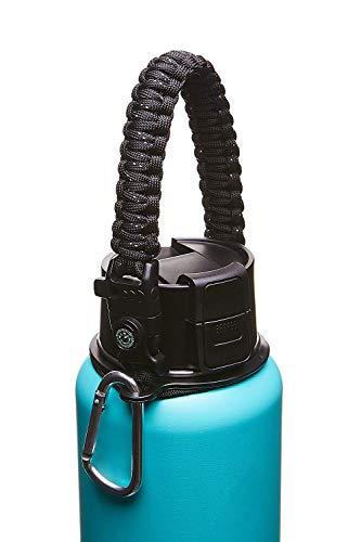 KOSTOO Waterfles Handvat voor Hydro Flask Brede Mond Flessen, Paracord Survival Band Koord voor 12oz tot 64oz Fles, met Veiligheidsring, Kompas, Fluitje, Fire Starter en Karabijnhaak Zwart