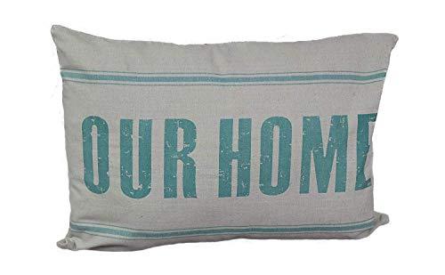 Linen and More Funda de cojín decorativa, algodón, estilo vintage, idea para regalo, 40 x 60 cm, color beige y verde