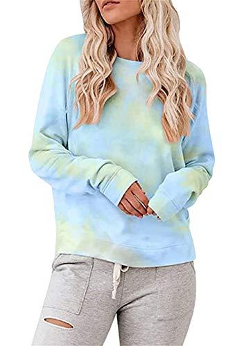 EFOFEI Womens Casual Mehrfarbige Ombre Tie Dye Hoodies Sweatshirt Langarm Pullover Kapuzenoberteile Orange Blau Grün M