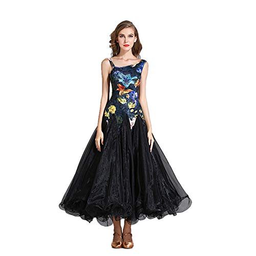 Cestbon Ballsaal Praxis Tanz Röcke Modernen Walzer Tango Glatter Gesellschaftstanz Kostüme Flamenco-Kleider Designer-Tanz,Schwarz,M