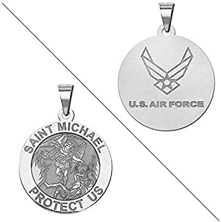 Saint Michael Doubledside AIR Force Religious Medal 14K Yellow or White Gold or Sterling Silver