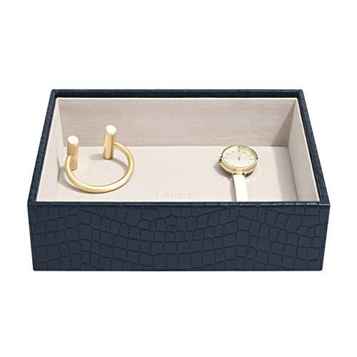 Stackers Navy Croc Classic Medium Jewellery Box Chunky Jewellery Layer