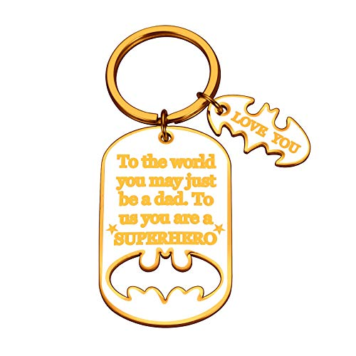 Dad Valentine Fathers Day Gifts Hero Keychain for Daddy Step Dad to Be Husband from Daughter Son Wife Kids I Love You Father of The Bride Step Father to be Wedding Anniversary Birthday Men Him