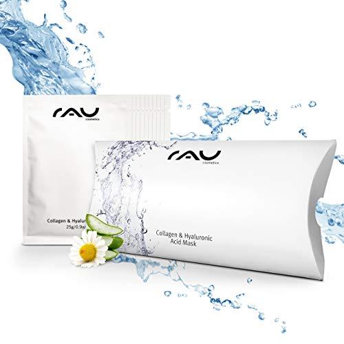 Collagen & Hyaluronic Acid Face Mask (10 pezzi) di RAU Cosmetics | Maschera Viso Anti-Aging con Acido Ialuronico, Collagene e Aloe Vera | per pelle secca, matura e soggetta a rughe