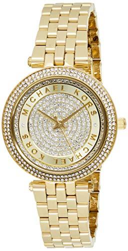 Michael Kors MK3445 Women's Mini Darci Crystal Pave Gold Dial Yellow Gold Steel Bracelet Watch