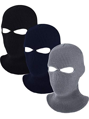 3 Holes Full Face Cover Knitted Balaclava Face Mask Winter Ski Mask for Winter Adult Supplies (Black Navy Blue Gray)
