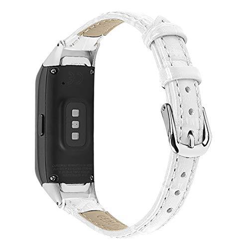 MVRYCE Correa de Cuero Galaxy Fit, Correa de Repuesto de Cuero Genuino Correa de Reloj Deportiva Ligera Pulsera Ajustable Compatible con Galaxy Fit SM-R370 (Blanco)