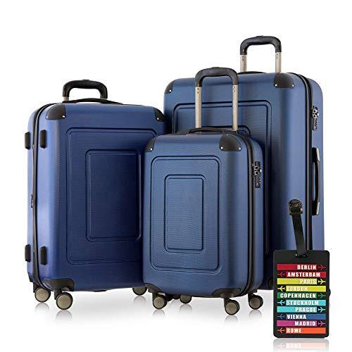 Happy Trolley - 3er Koffer-Set Trolley-Set Rollkoffer Hartschalen-Koffer Reisekoffer Lugano sehr leicht, TSA, (S, M & XL), Dunkelblau +HT Kofferanhänger