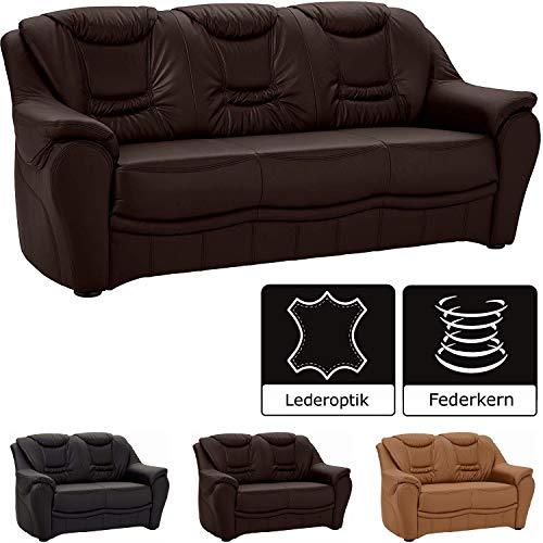 Cavadore 3-Sitzer Bansa mit Federkern / Polstercouch in Kunstleder / 198 x 94 x 95 / Lederoptik Braun