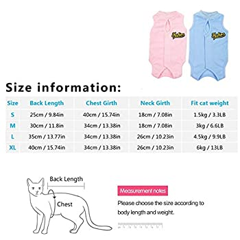 ZUOLUO Body pour Chat Body Chien Chien Médical Gilet Chats Vêtements Médicaux Chemise d'animal Familier Chien Chien Gilet Après La Chirurgie Blue,l