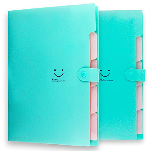 Placstic Expanding File Folders Accordion Document Organizer,5-Pocket,A4 Letter Size,Snap Closure,School and Office Use,2-Pack,Green