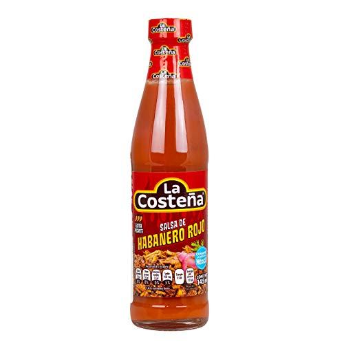 La Costena Habanero Red Pepper Sauce | 145ml | Mexikanische Küche | pikante Sauce | Schärfegrad von 10 | für echte Fans der mexikanischen Küche | Gut zum Kochen geeignet | Hervorragender Geschmack