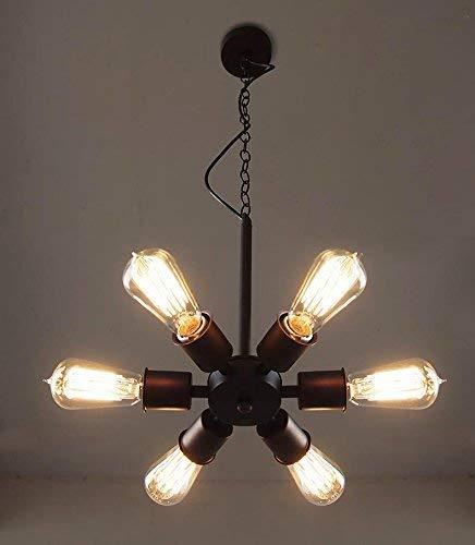 Yangqing Lámpara de techo colgante de 6 luces copo de nieve vintage de hierro para cocina comedor