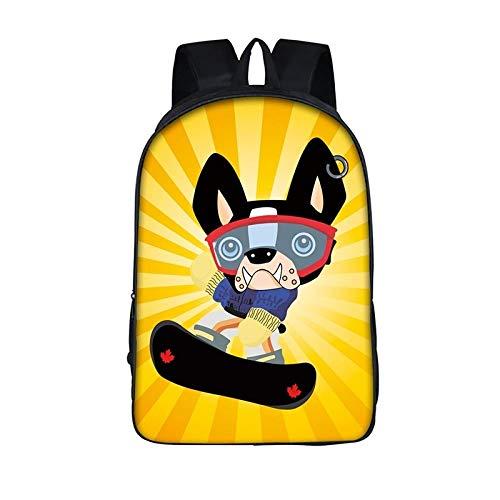 Cartoon Hund Skateboard Rucksäcke Schultaschen für Jungen Mädchen Schultasche Kinder Büchertasche Teen Multifunktions-Tasche B