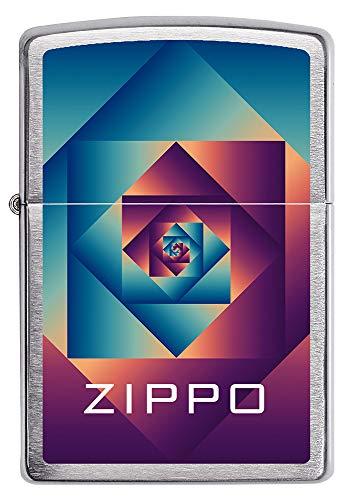 Zippo Patterns - Mechero Recargable de Gasolina con Acabado Cromado Cepillado, en Caja de Regalo