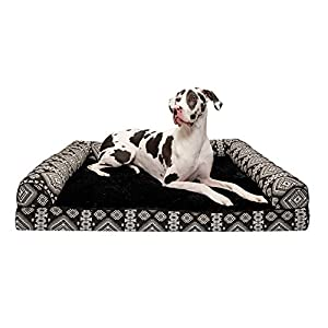 Furhaven Pet Dog Bed – Cooling Gel Memory Foam Plush Kilim Southwest Home Decor Traditional Sofa-Style Living Room Couch Pet Bed with Removable Cover for Dogs and Cats, Black Medallion, Jumbo Plus