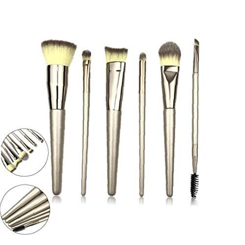 Pincel cosméticos 6pcs cepillos cosméticos de la herramienta Polvos Rubor en polvo de alta la luz de cepillo del maquillaje de la sombra nasal Cepillo Kit (oro) de Champán