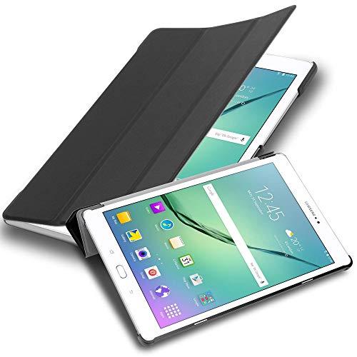 Cadorabo Funda Tableta para Samsung Galaxy Tab S2 9.7 SM-T815N/T813N/T819N in Negro SATÉN – Cubierta Proteccíon Bien Fina en Cuero Artificial en Estilo Libro con Auto Wake Up e Función de Suporte
