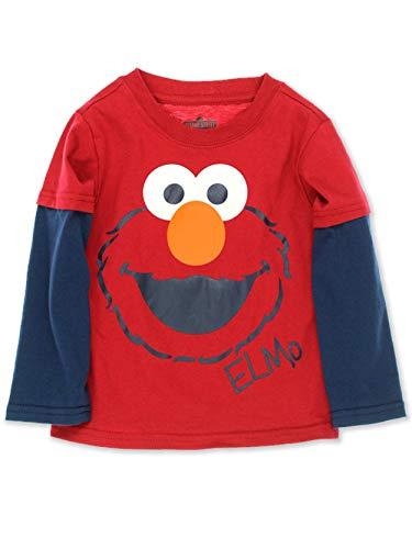 Sesame Street Elmo Toddler Boys Long Sleeve Tee (2T, Elmo Red)