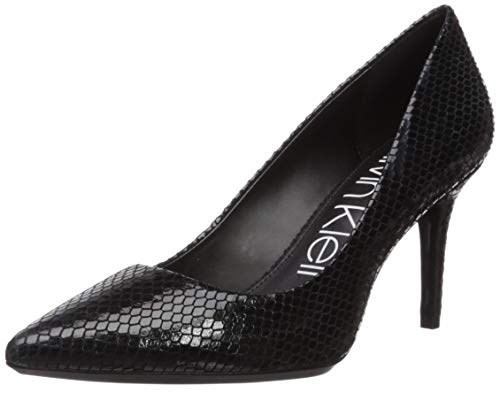 Calvin Klein Women's GAYLE Pump, black shiny snake, 8.5 M US