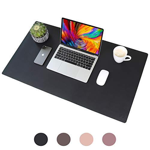 Leather Desk Pad 31.5' x 15.7', Vine Creations Office Desk Mat Waterproof Black, Smooth Mouse Pad and Writing Surface, Top of Desks Protector, Dual-Sided Pu Leather Blotter Accessories Office Decor