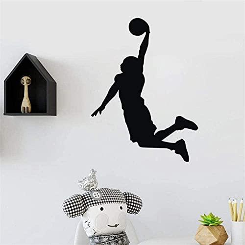 Etiquetas de pared Etiquetas de baloncesto Arte removible Vinilo Mural Dormitorio Dormitorio Decoración romántica Etiquetas de pared