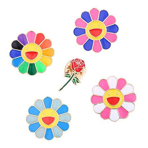 Belons 5 Pcs Bunte Lächelnde Sonnenblumen Rose Brosche Emaille Legierung Anstecknadel Lapel Pin Sicherheitsnadel für Damen Mädchen