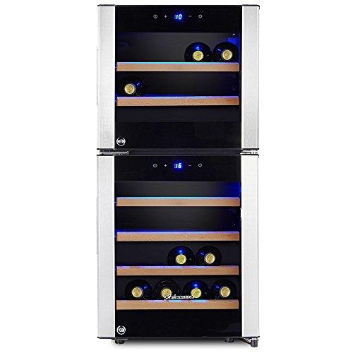 Kalamera KRC-33DZF Design Weinkühlschrank für bis zu 33 Flaschen (bis zu 310 mm Höhe),zwei Temperaturzonen ,5-10°C/ 10-18°C, (100 Liter, LED Bedienoberfläche, 2 Kühlzonen, Edelstahl)