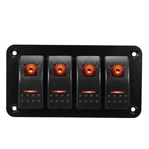 Kfz-Schalter Wippschalter Kippschalter For 12V-24V RV Boot Yacht Marine Universal-4 Gang LED Rocker Switch Panel Wasserdicht IP65 (Farbe : Orange)