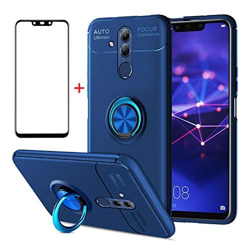 AKABEILA Huawei Mate 20 Lite Hülle Panzerglas, Huawei Mate 20 Lite Handyhülle Silikon, kompatibel für Huawei Mate 20 Lite Schutzhülle Schutzfolie Handyhalter Stoßfest Ring Handgriff Ständer, Blau