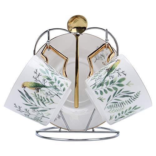 fanquare Papagei und Grün Pflanzen Porzellan Tassen Set,Keramik Teetassen Set, Set of 2 Keramik Kaffeetassen und Untertassen mit Metallhalter