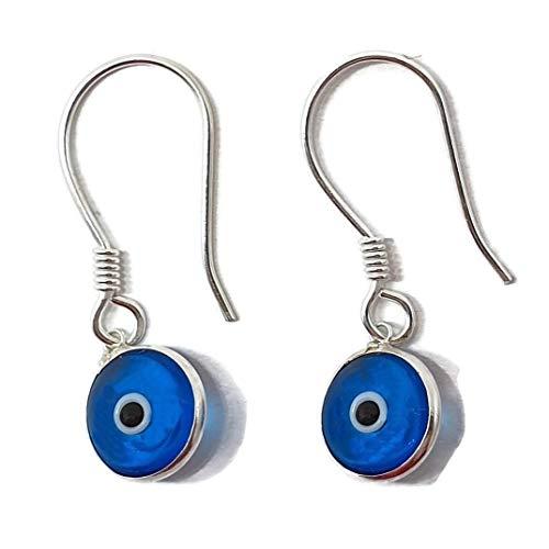 MYSTIC JEWELS By Dalia - Pendiente Plata de ley 925 Gota - ojo turco redondo para buene Suerte (Azul Claro)