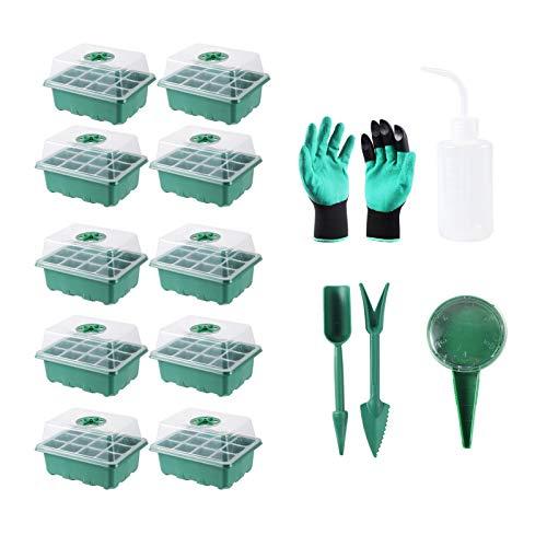 12 células de la bandeja de inicio de semillas en casa crecer humedad kit de la planta de la planta de invernadero bandejas de plantas plantas caja de germinación de la planta con agujeros transpirabl