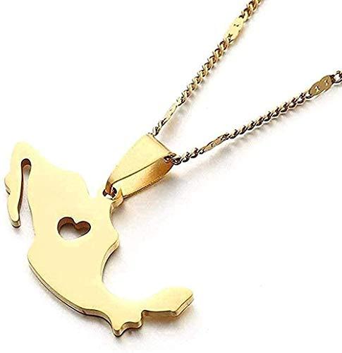 WYDSFWL Collares Collar de Acero Inoxidable Collar con Colgante de Mapa Collar de Oro con Mapa Mexicano de Moda