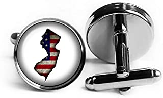 United States USA Flag Silhouette New Jersey NJ Rhodium Plated Silver Cufflinks