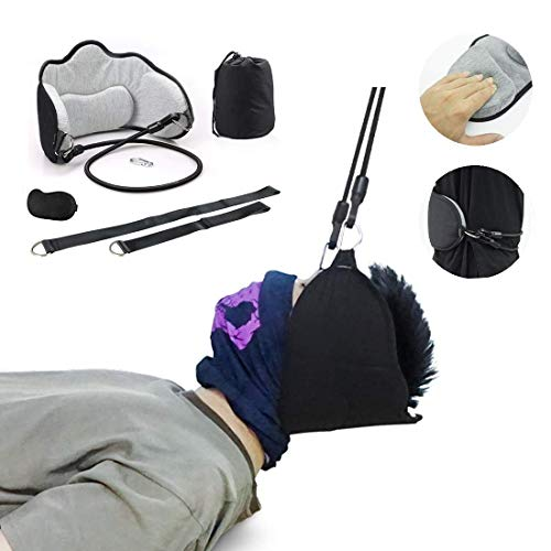 SPEESUN Neck Relief Hammock,Neck Traction Device Over The Door & Multifunction Neck Traction Set Upgrade 2.0 and Cervical Traction Device for Home to Help Relax Neck&Cervical Vertebrae Shoulders.