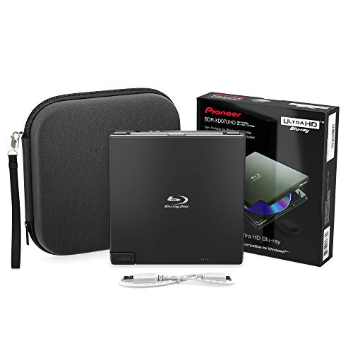 Pioneer BDR-XD07UHD 4K Blu-Ray Portable Burner & DVD Player - 6X Slim External BDXL, BD, DVD & CD Drive for Windows & Mac w/ 3.0 USB, CD Player, Write & Read on Laptop or Desktop w/ Carry Case (Black)