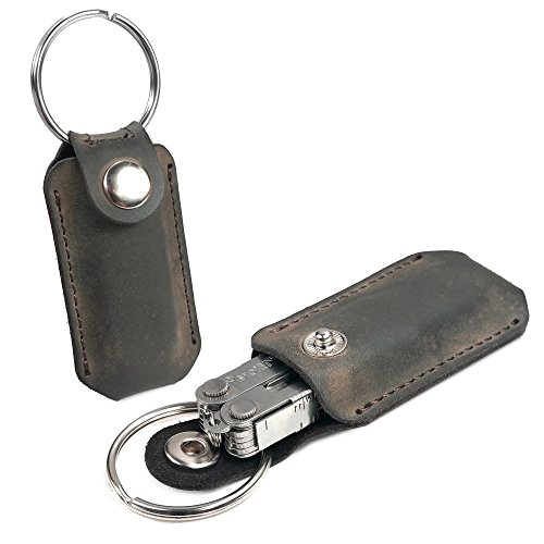 TUFF LUV 'Western' Genuine Leather Case Pocket Clip for Leatherman Micra/Squirt Multi-tool - Brown