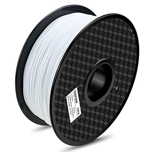 TIANSE Bianco filamento TPU per stampanti 3D, 1,75 mm, precisione dimensionale +/- 0,03 mm (2,2 lbs.)