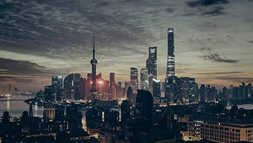 XJLAC Rompecabezas para Adultos 1000 Rompecabezas para Adultos 1000 Piezas Rompecabezas 1000 Piezas Rompecabezas Rompecabezas de Madera Juguetes educativos China, Noche, Shanghai, Vista de la Ciudad